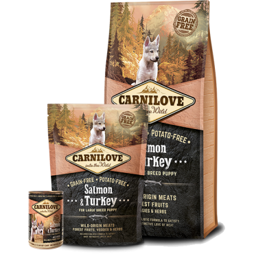 CARNILOVE Salmon & Turkey for large breed puppy  ≥ 25 KG, 3 – 30 MONTHS
